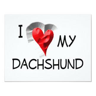 I Love My Dachshund 11 Cm X 14 Cm Invitation Card