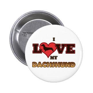 I Love My Dachshund Pinback Buttons