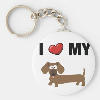 I love my dachshund basic round button key ring