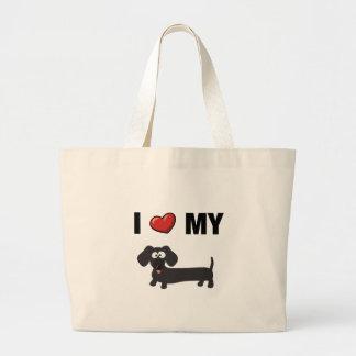 I love my dachshund (black) tote bags