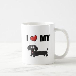 I love my dachshund (black) basic white mug