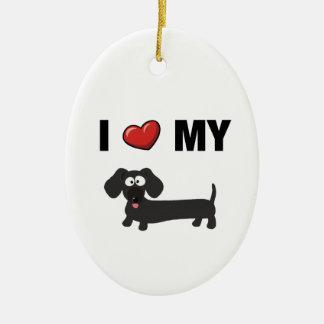 I love my dachshund (black) ornaments