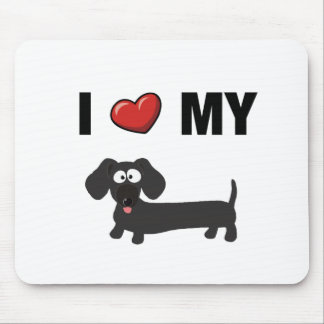 I love my dachshund (black) mousepads