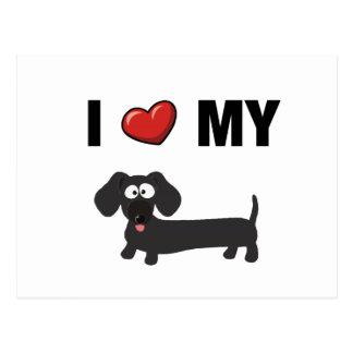I love my dachshund (black) postcard