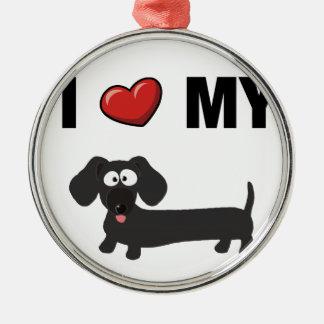 I love my dachshund (black) Silver-Colored round decoration