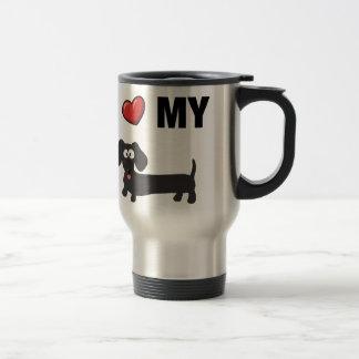 I love my dachshund (black) stainless steel travel mug