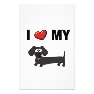 I love my dachshund (black) personalized stationery