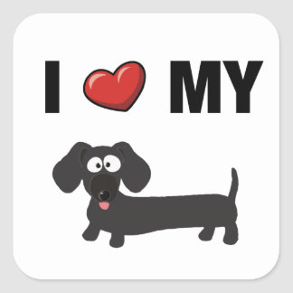 I love my dachshund (black) square sticker