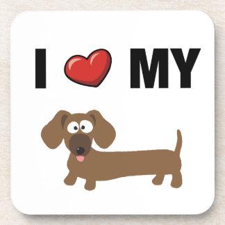 I love my dachshund drink coasters