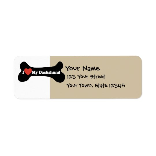 I Love My Dachshund - Dog Bone Return Address Label