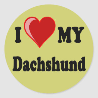 I Love My Dachshund Dog Gifts & Apparel Round Sticker