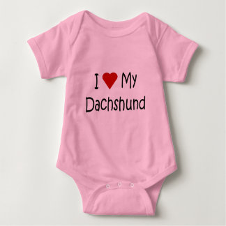 I Love My Dachshund Dog Lover Gifts and Apparel Baby Bodysuit