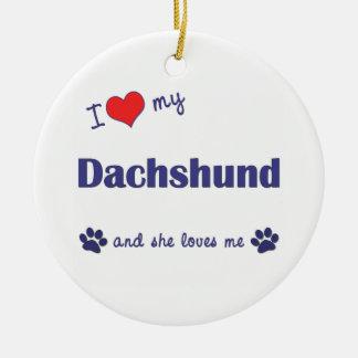 I Love My Dachshund Female Dog Ornament