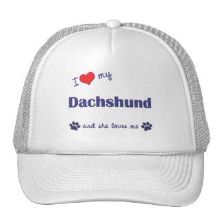 I Love My Dachshund (Female Dog) Mesh Hats