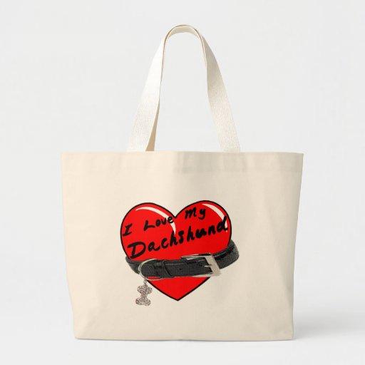I Love My Dachshund Heart with Dog Collar Bag