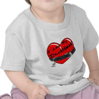 I Love My Dachshund Heart with Dog Collar T-shirts