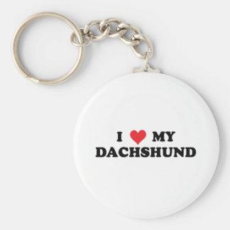 I Love My Dachshund Basic Round Button Key Ring