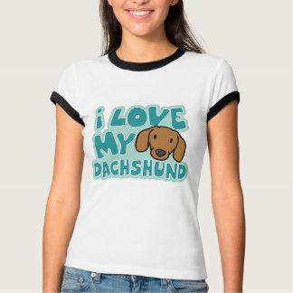 I Love My Dachshund Ladies Ringer T-Shirt