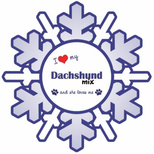 I Love My Dachshund Mix (Female Dog) Photo Sculptures