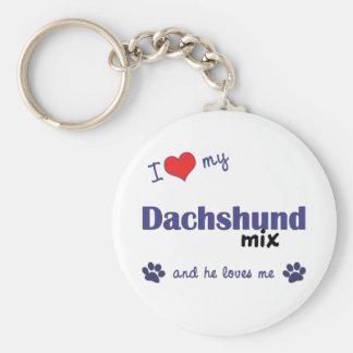 I Love My Dachshund Mix Male Dog Key Chain