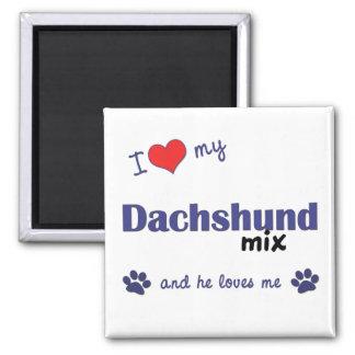 I Love My Dachshund Mix (Male Dog) Square Magnet