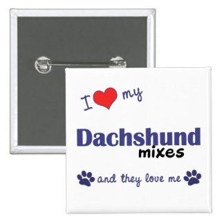 I Love My Dachshund Mixes Multiple Dogs Pin