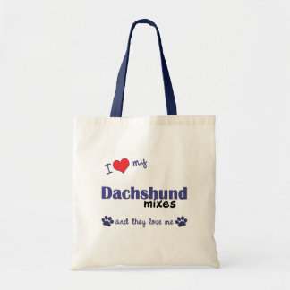 I Love My Dachshund Mixes Multiple Dogs Tote Bags