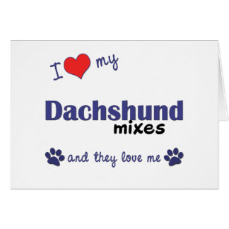 I Love My Dachshund Mixes Multiple Dogs Cards