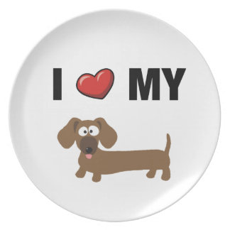 I love my dachshund party plate