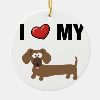I love my dachshund round ceramic decoration