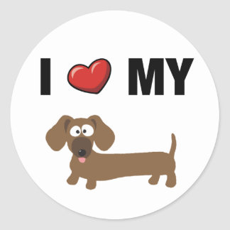 I love my dachshund round sticker