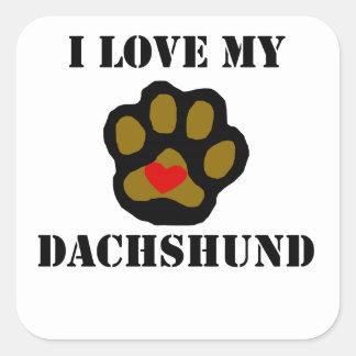 I Love My Dachshund Square Stickers