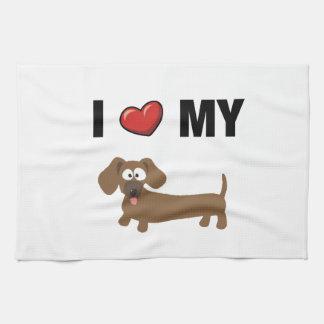 I love my dachshund kitchen towel