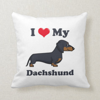I Love My Dachshund Throw Pillow