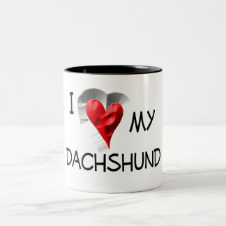 I Love My Dachshund Two-Tone Coffee Mug