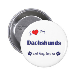 I Love My Dachshunds Many Dogs Pins