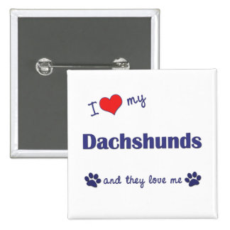 I Love My Dachshunds Many Dogs Pinback Buttons