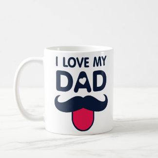 I love my dad cute moustache icon coffee mug