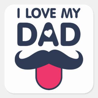 I love my dad cute moustache icon square sticker