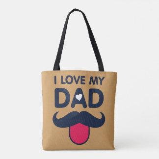 I love my dad cute moustache icon tote bag