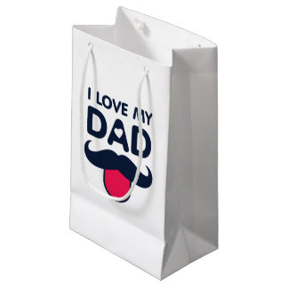 I love my dad cute mustache icon small gift bag