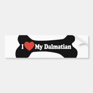 I Love My Dalmatian - Dog Bone Bumper Sticker