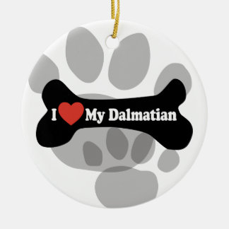 I Love My Dalmatian - Dog Bone Ceramic Ornament