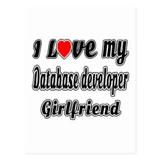 I Love My Database developer  Girlfriend Postcard