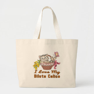 I Love My Dilute Calico Large Tote Bag