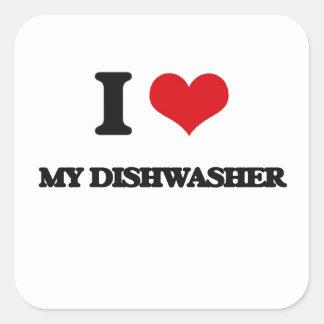 I Love My Dishwasher Square Sticker