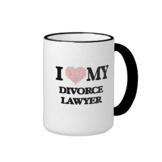 I love my Divorce Lawyer (Heart Made from Words) Ringer Mug