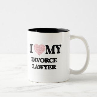 I love my Divorce Lawyer (Heart Made from Words) Two-Tone Mug