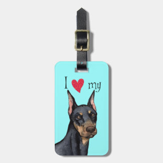 I Love my Doberman Bag Tag