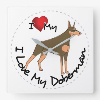 I Love My Doberman Dog Square Wall Clock
